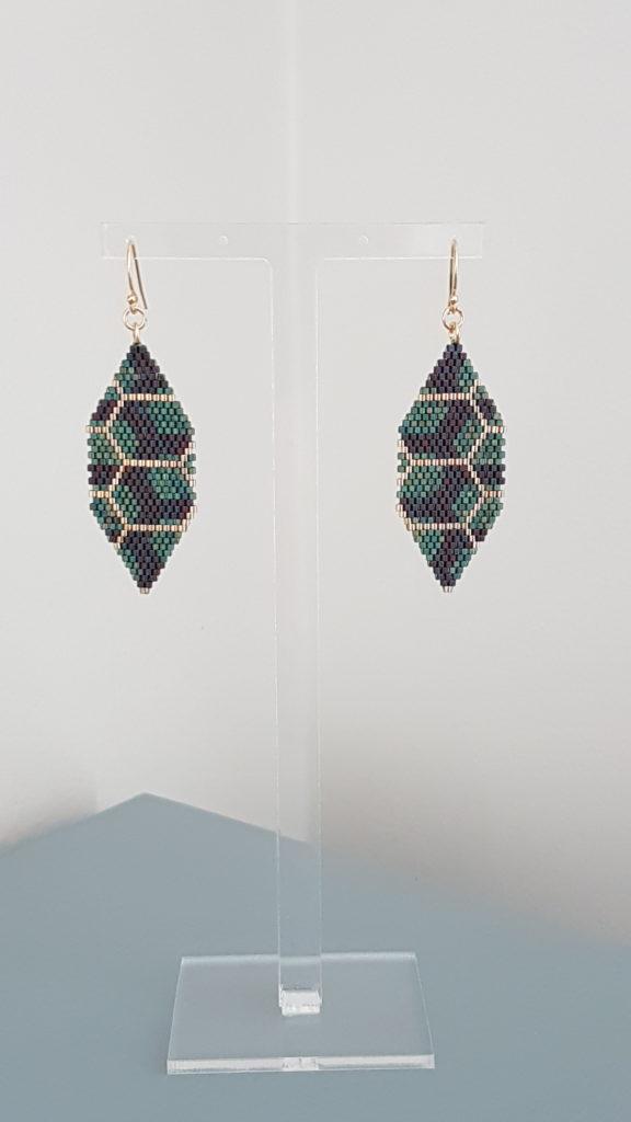 pendentifs en perles Miyuki vert brun et plaqué or