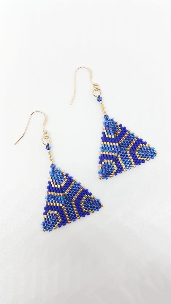 pendentifs bleu cobalt et or