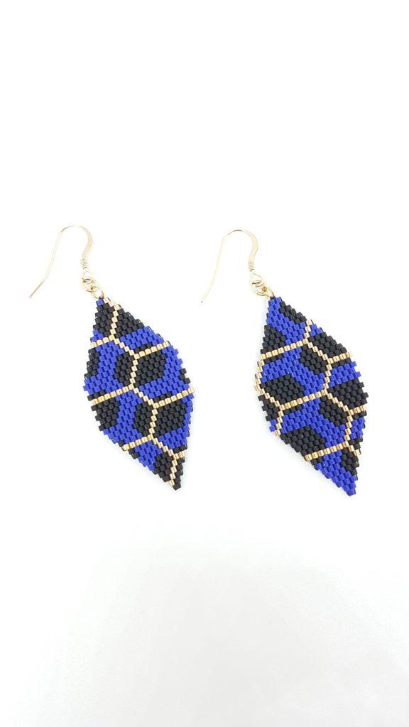 boucles bleu cobalt noir mat et or