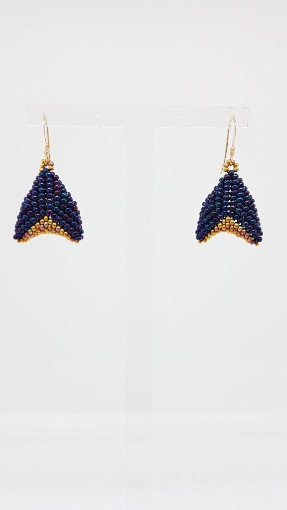 boucles d'oreillres bleu nuit et or